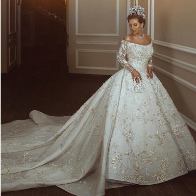 Gorgeous Off The Shoulder Long Sleeve Sequin Applique Ball Gown Wedding Dress | Crystal Puffy Wedding Gown_2