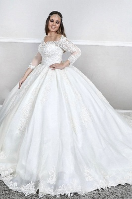 Gorgeous Sweetheat Off The Shoulder Long Sleeve Lace Puffy Ball Gown Wedding Dresses_1