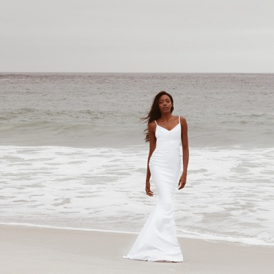 Casual Spaghetti Strap Sweetheart Backless Fitted Mermaid Wedding Dress | Beach Wedding Gown_4