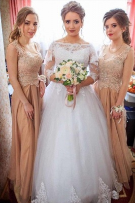 Elegant Bateau Long Sleeve Applique A Line Wedding Dresses