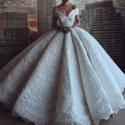 Gorgeous Off The Shoulder Sweetheart Crystal Sequin Puffy Ball Gown Wedding Dresses_2