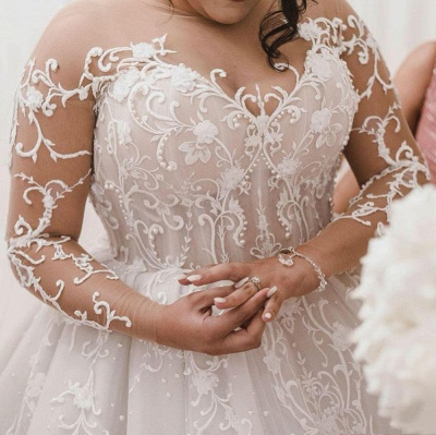 Plus Size Jewel Long Sleeve Applique Ball Gown Wedding Dresses | Pearls Bridal Gown_2