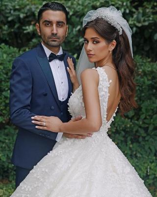 Deam Strpas V Neck Backless Floral Crystal A Line Wedding Dress_2