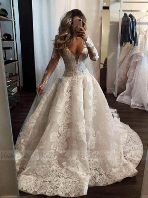 Fashion Long A-line V-neck Lace Wedding Dress with Sleeves_2
