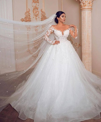 Royal Jewel Long Sleeve Floral Ball Gown Wedding Dresses | Beaded Puffy Wedding Gown_2