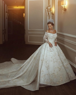 Gorgeous Off The Shoulder Long Sleeve Sequin Applique Ball Gown Wedding Dress | Crystal Puffy Wedding Gown_4
