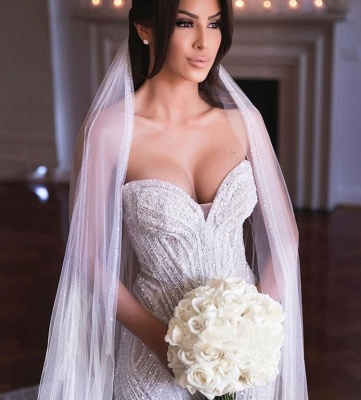 Gorgeous Sweetheart Crystal Sequin Mermaid Wedding Dresses | Fit And Flare Wedding gown_2