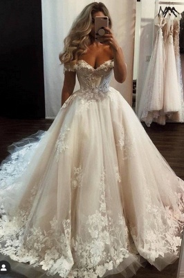 Long A-line Off-the-shoulder Tulle Wedding Dress with Lace
