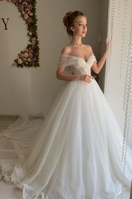 Simple Off The Shoulder Sweetheart Applique Tulle A Line Wedding Dresses