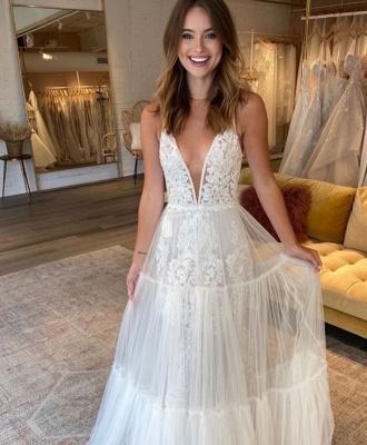 Romantic  Straps V Neck Applique Tulle A Line Beach Wedding Dress | Floor Length Wedding Gown_2