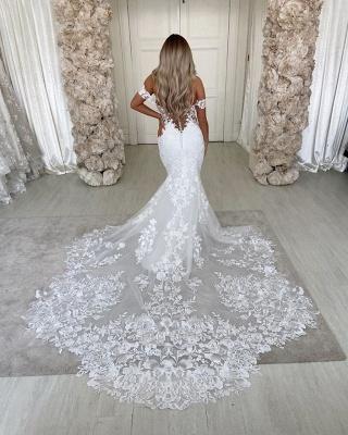 Off The  Shoulder Deep V Neck Applique Fit And Flare Mermaid Wedding Dresses_4