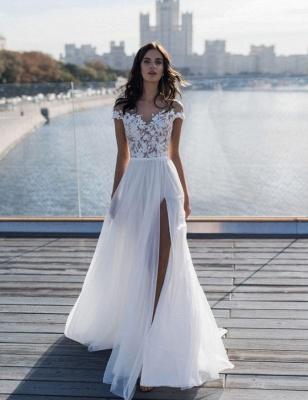 Off The Shoulder Sweetheart Applique Front Slit Wedding Dresses   Sash Tulle Bridal Gown Wedding Dresses_3