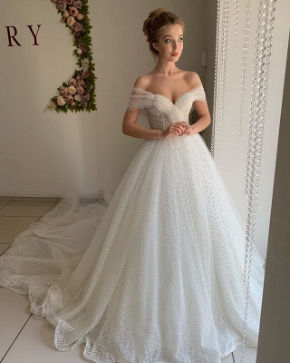 Simple Off The Shoulder Sweetheart Applique Tulle A Line Wedding Dresses_3