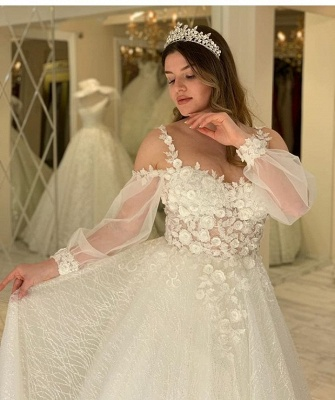 Charming Sheer Jewel Neckline Long Sleeve A Line Wedding Dresses | Floral Wedding Gown_4