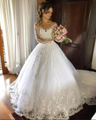 Cheap Long Princess Jewel Lace Wedding Dresses With Sleeves_2