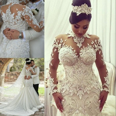 Elegant High Neck Long Sleeve Applique Sequin Fit And Flare Mermaid Wedding Dresses_4