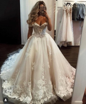 Long A-line Off-the-shoulder Tulle Wedding Dress with Lace_2