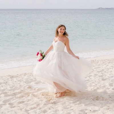 Sexy Sweetheart Backless Applique A Line Summber Beach Wedding Dresses_3