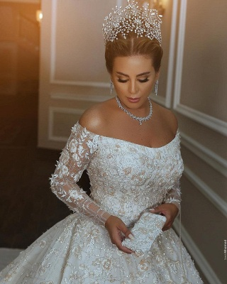 Gorgeous Off The Shoulder Long Sleeve Sequin Applique Ball Gown Wedding Dress | Crystal Puffy Wedding Gown_3
