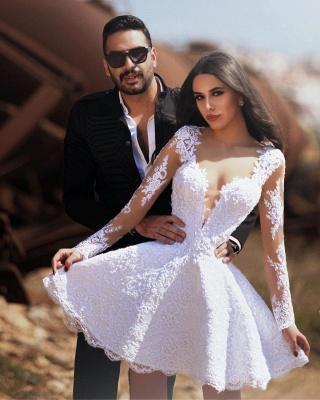 Short A-line V-neck Long Sleeves Lace Wedding Dress_2