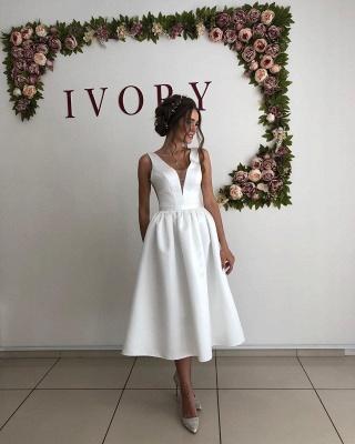 Straps V Neck Pleated Tea Length A Line Wedding Dresses_3
