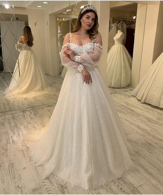 Charming Sheer Jewel Neckline Long Sleeve A Line Wedding Dresses | Floral Wedding Gown_3