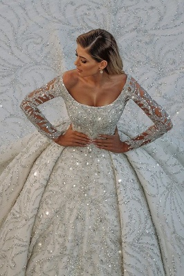 Gorgeous Long Sleeve Off The Shoulder Crystal Applique Pleated Ball Gown Wedding Dresses