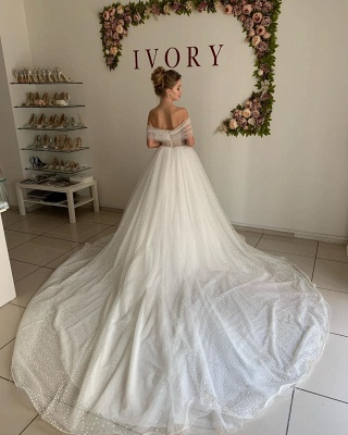 Simple Off The Shoulder Sweetheart Applique Tulle A Line Wedding Dresses_2