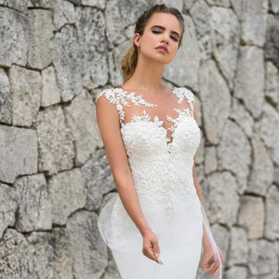Elegant Straps Jewel Applique Crystal Fit And Flare Mermaid Wedding Dresses With Detachable Train_3