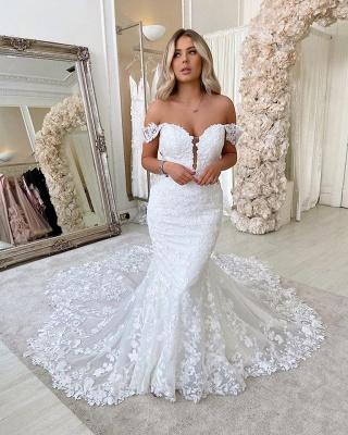 Off The  Shoulder Deep V Neck Applique Fit And Flare Mermaid Wedding Dresses_2
