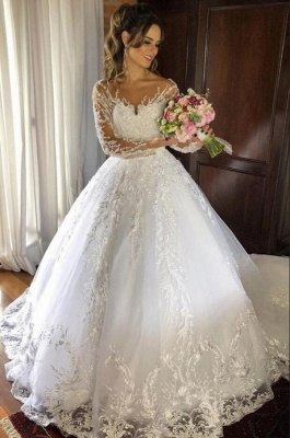 Cheap Long Princess Jewel Lace Wedding Dresses With Sleeves