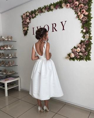 Straps V Neck Pleated Tea Length A Line Wedding Dresses_2