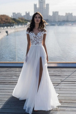 Off The Shoulder Sweetheart Applique Front Slit Wedding Dresses | Sash Tulle Bridal Gown Wedding Dresses