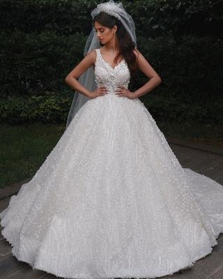 Deam Strpas V Neck Backless Floral Crystal A Line Wedding Dress_4