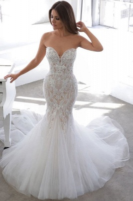 Elegant Sweetheart Backless Lace Tulle Fitted Mermaid Wedding Dresses_1