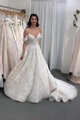 Gorgeous Long A-line V-neck Spaghetti Straps Lace Wedding dress