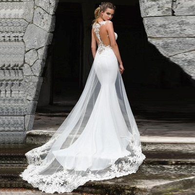 Elegant Straps Jewel Applique Crystal Fit And Flare Mermaid Wedding Dresses With Detachable Train_2