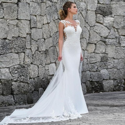 Elegant Straps Jewel Applique Crystal Fit And Flare Mermaid Wedding Dresses With Detachable Train_4