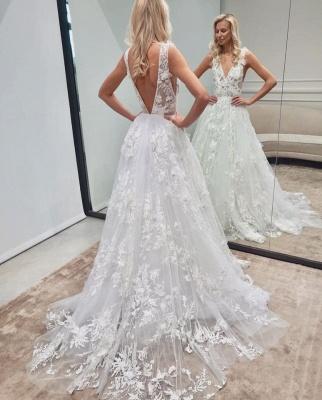 Elegant Long A-line V-neck Backless Lace Wedding Dress_2