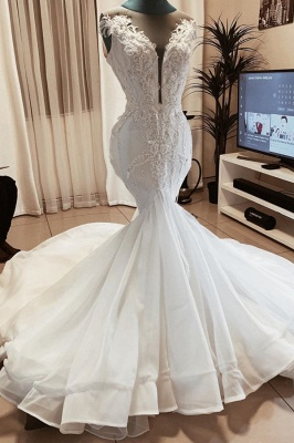 Jewel Sleeveless Applique Fit And Flare Mermaid Wedding Dresses