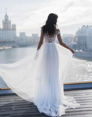 Off The Shoulder Sweetheart Applique Front Slit Wedding Dresses   Sash Tulle Bridal Gown Wedding Dresses_2