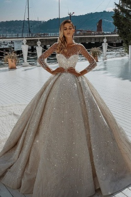 Stunning Long Sleeve Jewel Crystal Beaded Ball Gown Wedding Dresses
