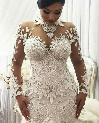 Elegant High Neck Long Sleeve Applique Sequin Fit And Flare Mermaid Wedding Dresses_2