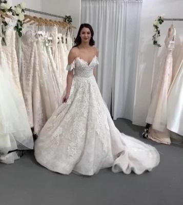Gorgeous Long A-line V-neck Spaghetti Straps Lace Wedding dress_2