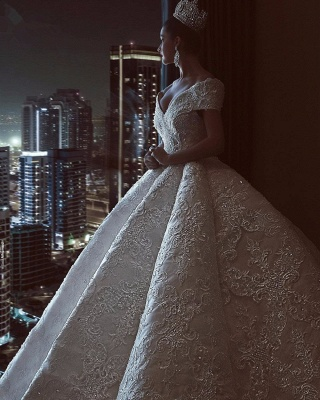 Gorgeous Off The Shoulder Sweetheart Crystal Sequin Puffy Ball Gown Wedding Dresses_3
