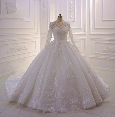 Ball Gown Long Sleeves High neck Lace Wedding Dress_2