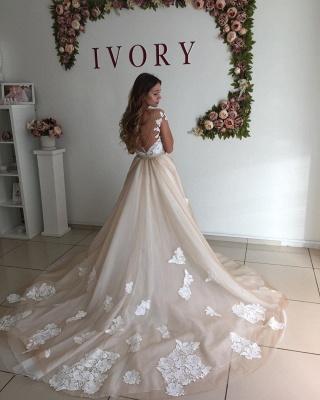 Champagne Sheer Neckline Backless Applique Detachable Skirt Sheath Wedding Dresses_4
