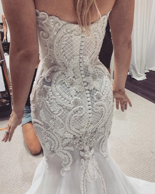 Luxury Sweetheart Backless Applique Fitted Mermaid Wedding Dresses_2