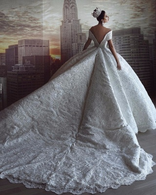 Gorgeous Off The Shoulder Sweetheart Crystal Sequin Puffy Ball Gown Wedding Dresses_4