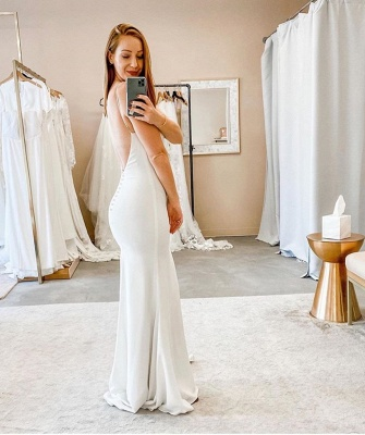 Sexy Spaghetti Strap V Neck Backless Floor Length Column Wedding Dresses